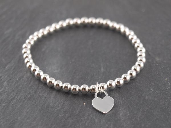 Elastisches Armband Silberkugel mit Anhänger Silber herz