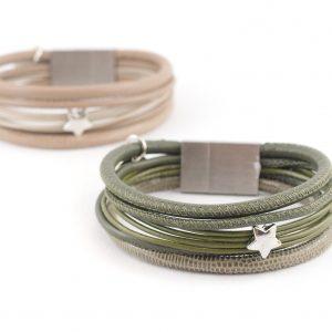 Estelle Lederarmband verschiedene Lederbänder Edelstahlmagnet, Stern