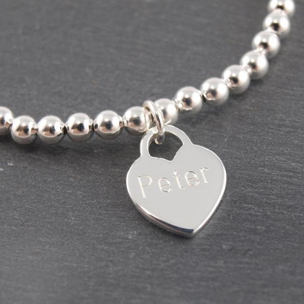Gravuranhänger aus Silber mit Wunsch Gravur herz mit Kugelarmband elastisch