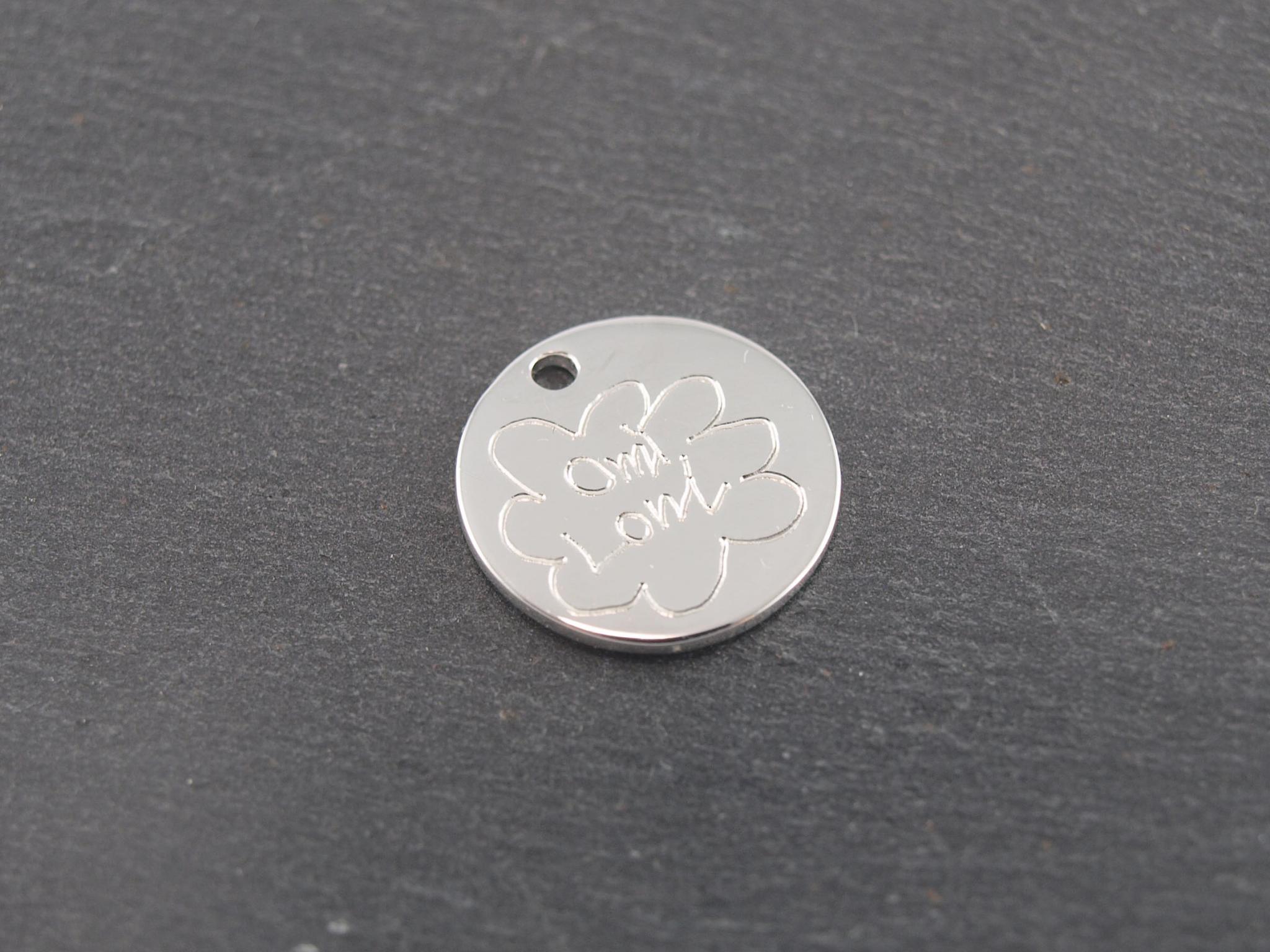 Gravuranhänger aus Silber mit Wunsch Gravur rund 16 mm (2)
