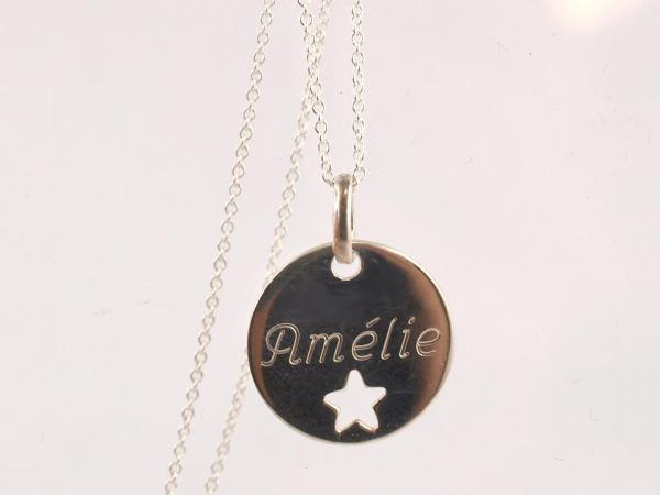 Gravuranhaenger 16 mm mit ausgestanztem Stern Silber