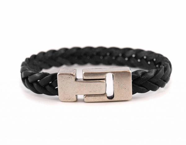 Herrenarmband-Hugo-Lederarmband-geflochten-massiver-Magnetverschluss-schwarz