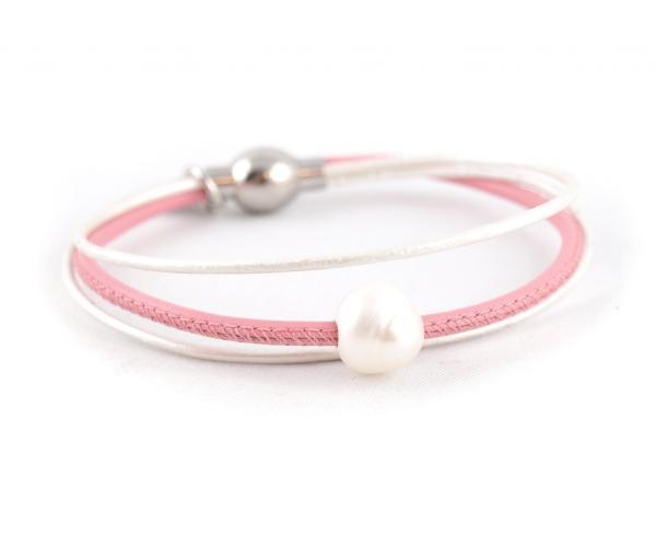 Lederarmband Penelope Süsswasserpele Magnetverschluss Nappaleder, Gravur möglich, die Geschenkidee für Frauen, Farbe Rosa