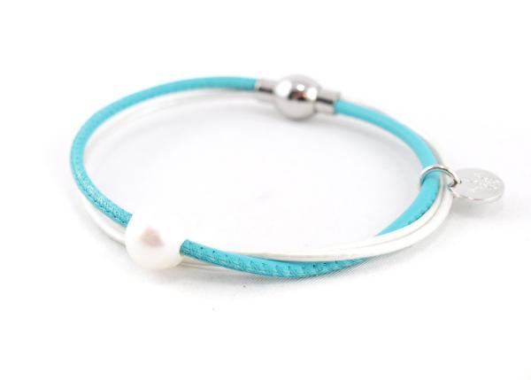 Lederarmband Penelope Süsswasserpele Magnetverschluss Nappaleder, Gravur möglich, die Geschenkidee für Frauen, Farbe Türkis