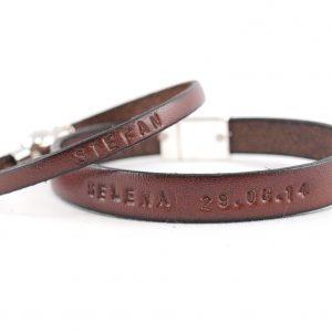 Partnerarmband für Sie und Ihn, Freundschaftsband aus Leder, Farbe braun mit graviertem Text und Datum