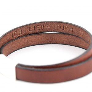 Lederband für Herren, Gravur, Wunschtext Magnetverschluss, Gravur Innenseite, braun