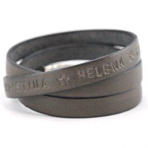 Lederband für Herren, Gravur, Wunschtext, Magnetverschluss, grau