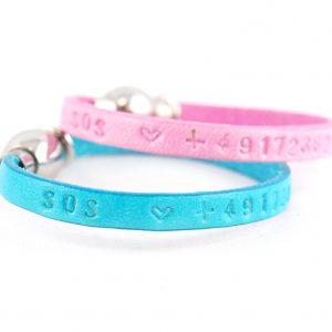 SOS Armband für Kinder mit Telefonnummer , echtes Leder