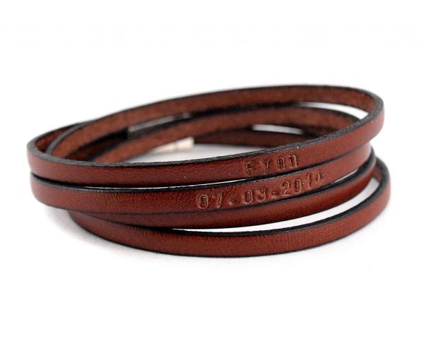 Herrenarmband Kim Leder-Armband mit Wunschtext personalisierbar, braun
