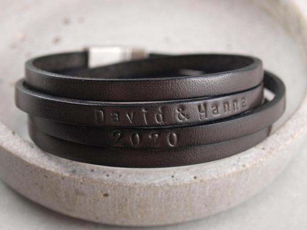 Lederarmband Kim doppelt Leder zweifach gewickelt mit Wunschtext grau (2)