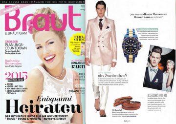 In der Septemberausgabe der BRAUT - Unsere beliebten Partnerarmbänder mit Wunschtext werden für den perfekten Partnerlook abgebildet. Tragen auch Sie ein Freundschaftsarmband mit Gravur aus Leder.