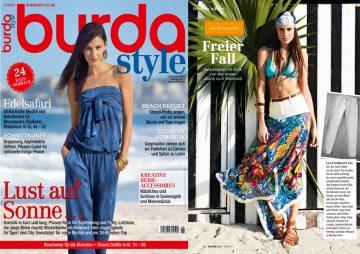 In der Juniausgabe der Burda Style werden heisse Sommeroutfits in Kombination mit unseren Lederarmbändern im Surferlook präsentiert.