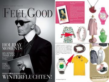 Die Zeitschrift Feelgood zeigt eine Abbildung unseres Mix'S Modulschmuck Armband mit Wunschtext in der Kategorie: Mia's Welt. Feelgood 14