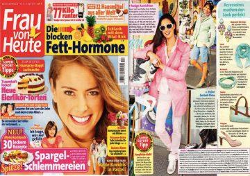 Frühlingsfrisches türkis in der Aprilausgabe der Frau von heute. Sie zeigen eine Mi'S Kombination mit Holzperle und Leder.