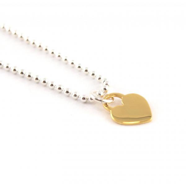 Kugelkette mit Anhänger Silber Herz gold