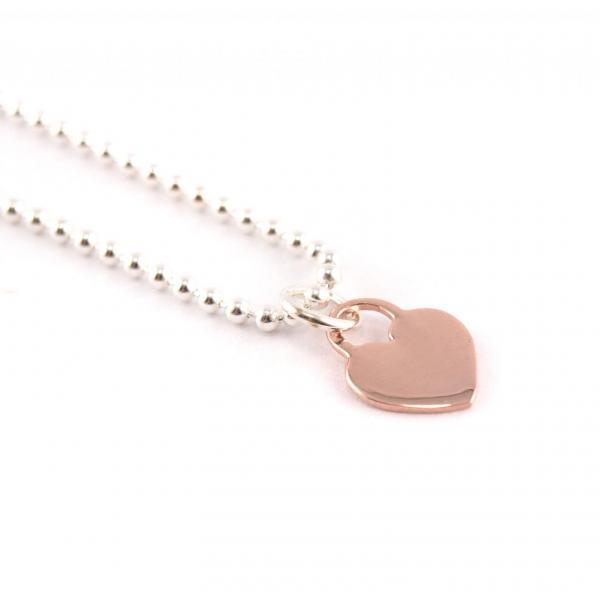 Kugelkette mit Anhänger Silber Herz rosegold