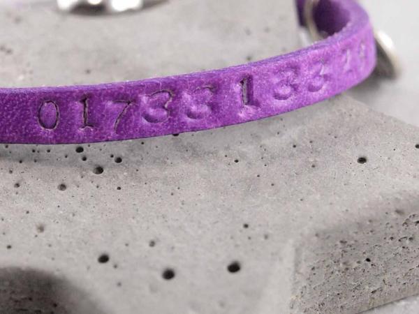 SOS Armband für Kinder mit Telefonnummer , echtes Leder lila