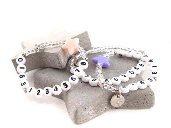 SOS Notfallarmband Perle mit bunten Sternen