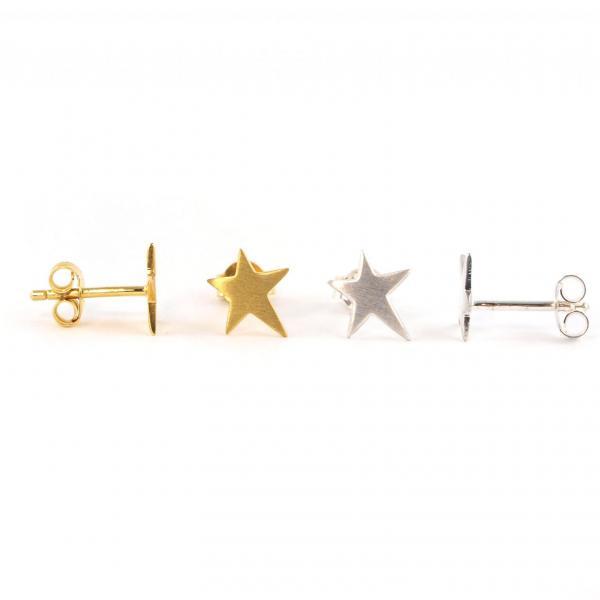 Silberohrring Ohrstecker Stern asymetrisch gold silber