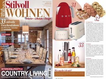 """Stilvoll Wohnen berichtet über unser geflochtenes Lederarmband Maxi und beschreibt es sogar als """"Kunstwerk"""". Ausgabe 6/14."""