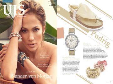 In der Juni-Ausgabe der Uhren. Juwelen. Schmuck. werden Schmuckstücke wie unser Lederarmband SUE in Pastell- und Pudertönen abgebildet. Ausgabe 6/15.