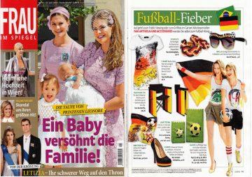 Auch die Juniausgabe der Frau im Spiegel steht ganz im Zeichen des Fussballs und bildet unsere geflochtenen Deutschland Lederarmbänder in schwarz- rot- gold ab.