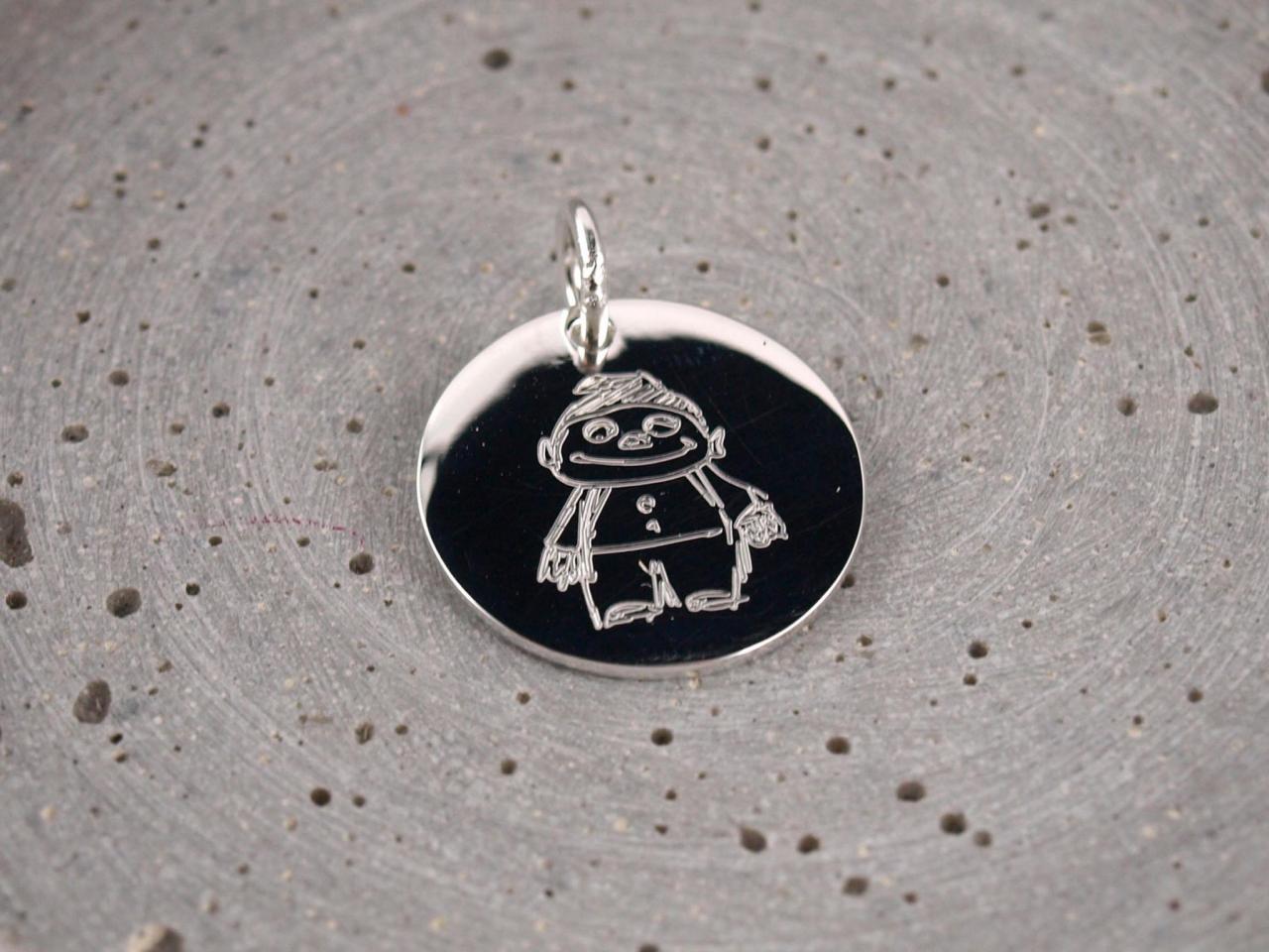19mm Silber anhaenger mit Individueller Zeichnung