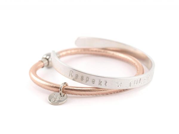 ALuminium Reif 5 mm mit Wunschtext Gravur mit Armband Marie