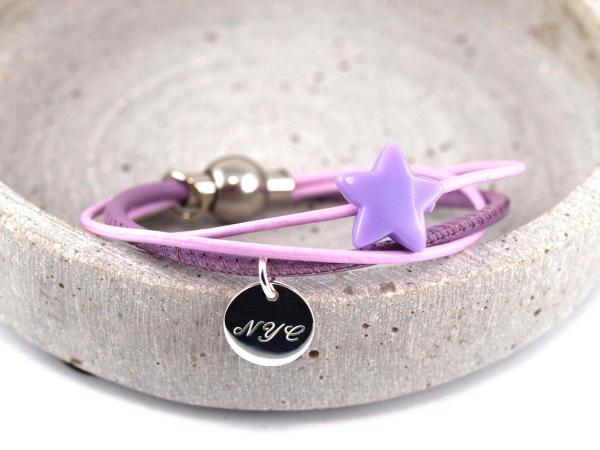 Armband Annabel aus Leder mit Stern und Gravur Anhaenger Silber