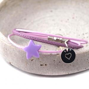 Armband Annabel aus Leder mit Stern und Gravur Anhaenger Silber Herz