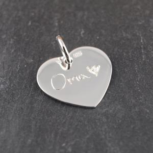 Gravuranhaenger Herz Silber mit individueller Gravur