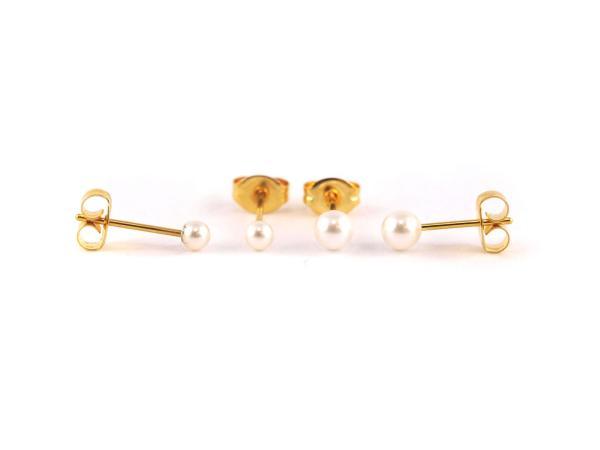 Hypoallergener Ohrstecker Studex Perle verschiedene Größen vergoldet