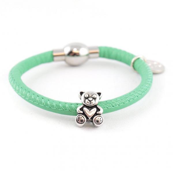 Kinderarmband Nappaleder mit Bärchen jade