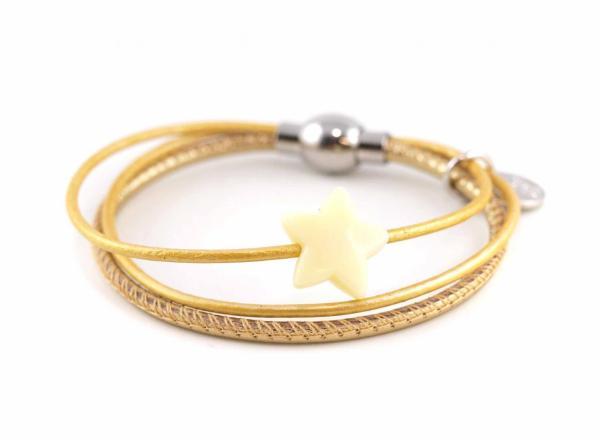 Lederarmband Annabel Kinder mit Stern Perle gold
