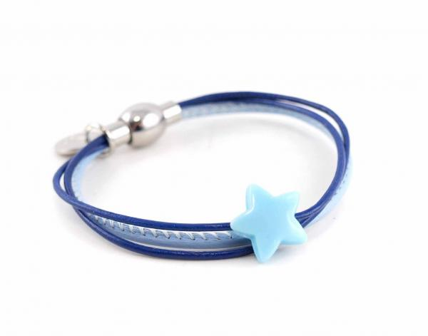Lederarmband Annabel Kinder mit Stern Perle hellblau