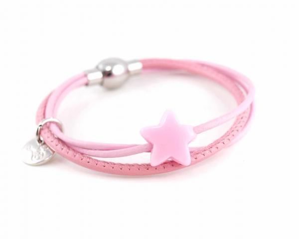 Lederarmband Annabel Kinder mit Stern Perle rosa