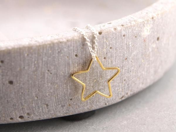 Offener Stern Silber vergoldet
