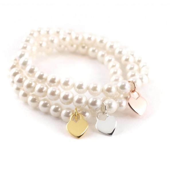 Perlenarmband 6 mm mit Herz Anhänger