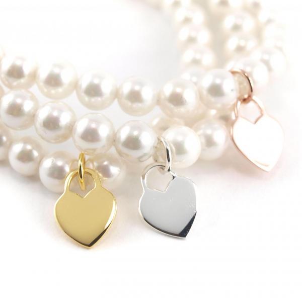 Perlenarmband 6 mm mit Herz Anhänger alle Farben