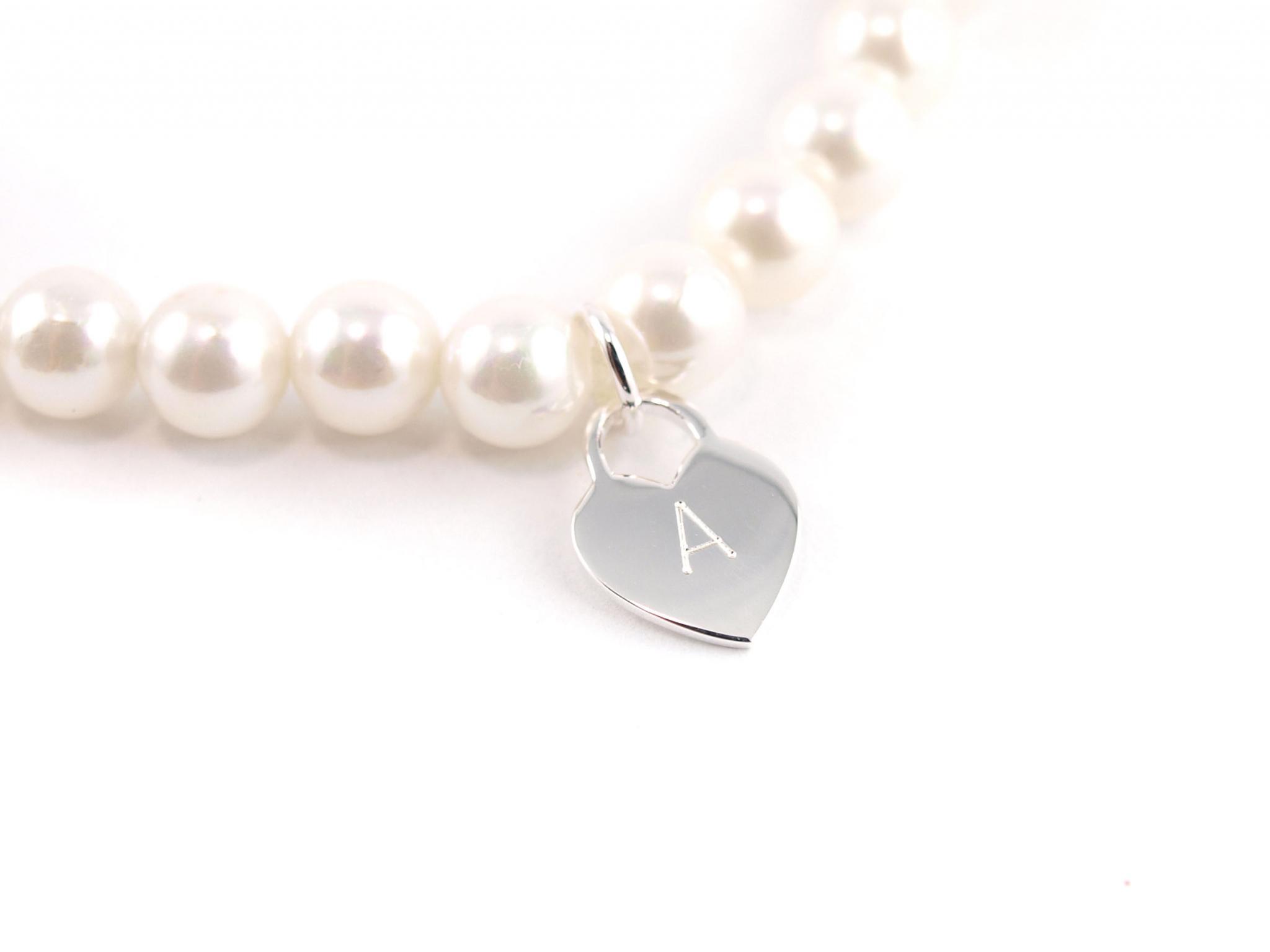 Perlenarmband Herz Silber mit Gravur