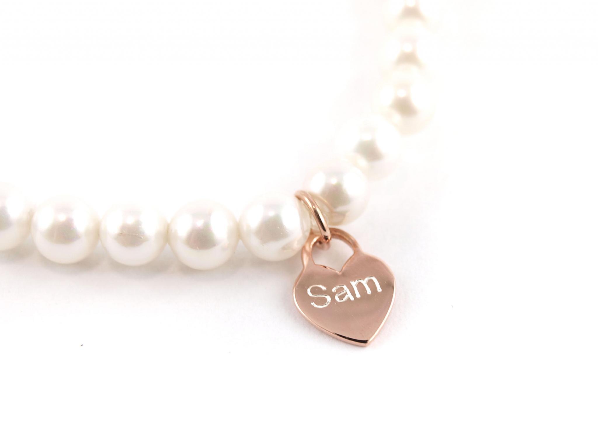 Perlenarmband Herz rosegold mit Gravur