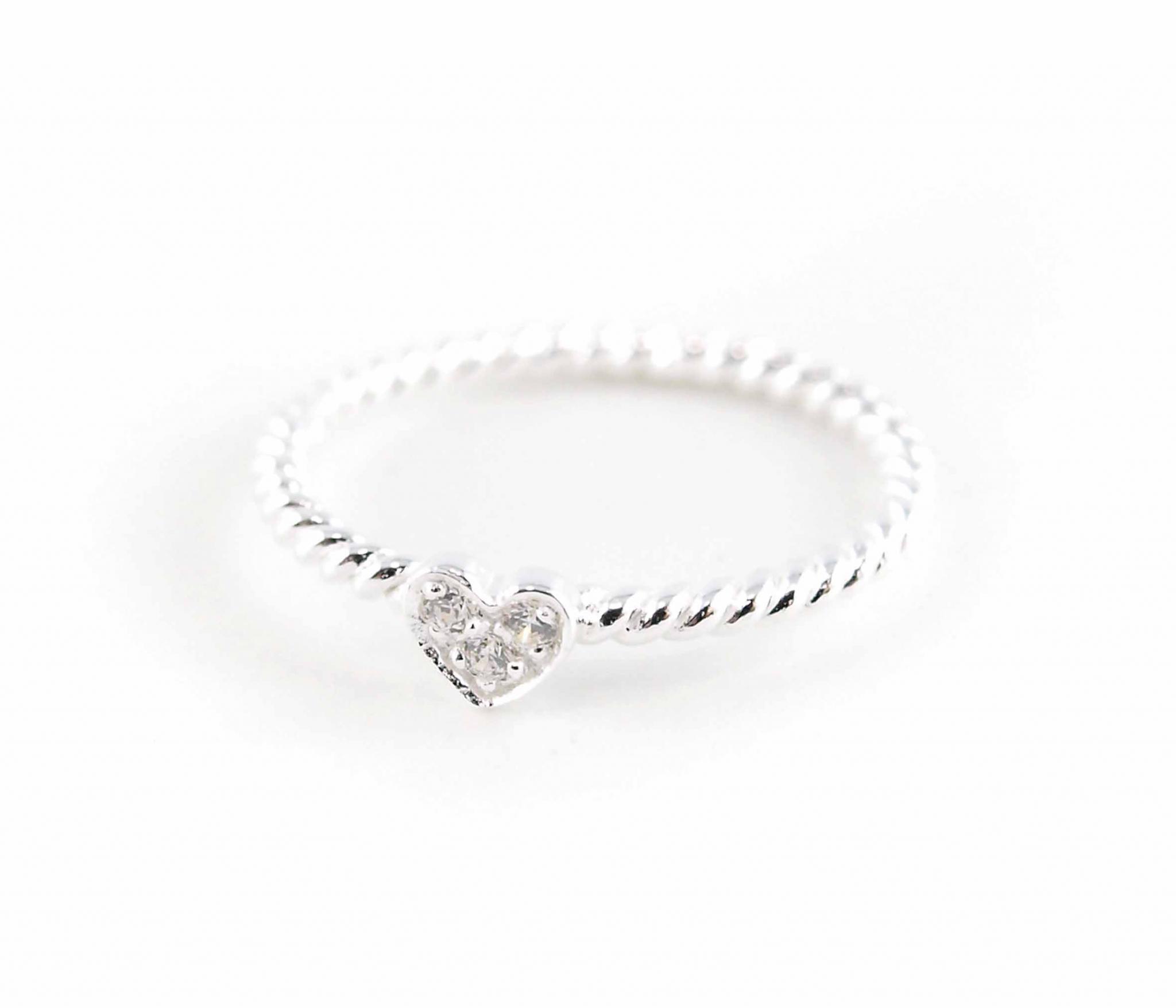 925er Silber Ring Strassherzchen