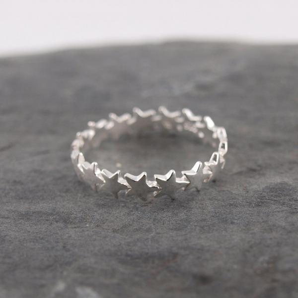 Silber Ring mit Sternen 925er Silber 2
