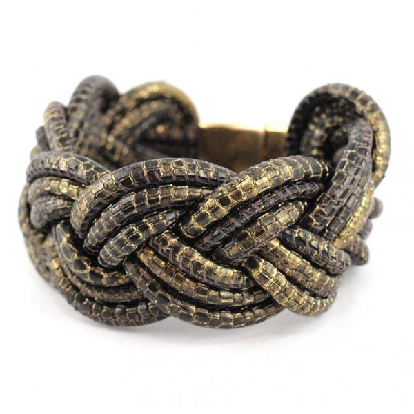 Sue geflochtenes Lederarmband Reptilprägung Edelstahlmagnet schwarz