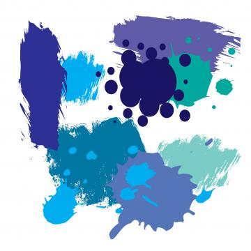 Farbkleckse in Marine, Hellblau, Türkis, Kobaltblau, Meerblau, Aquamarin, Azur