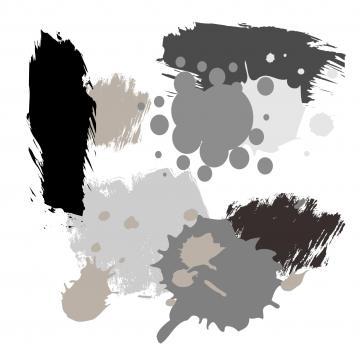 Farbkleckse in Grautönen, hellgrau, dunkelgrau, schwarz, grau, silber