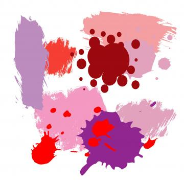 Farbkleckse in Brombeer, Kaminrot, Koralle, Flieder, Pink, Rosa, Rose und Lila