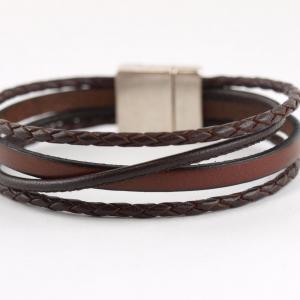 Flo Herrenarmband Leder mit Magnet rotbraun