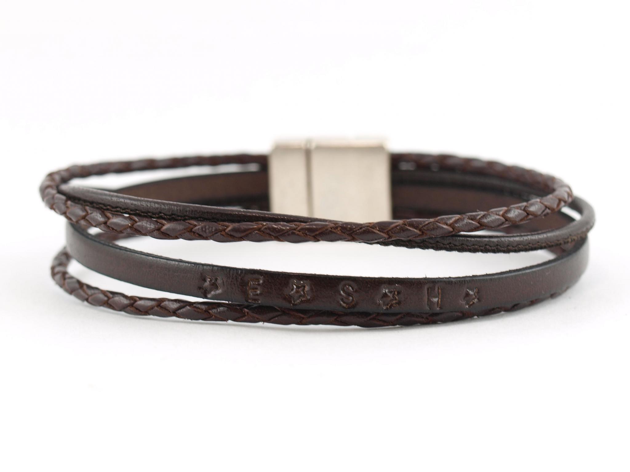 Flo Herrenarmband aus Leder mit Wunschtext dunkelbraun
