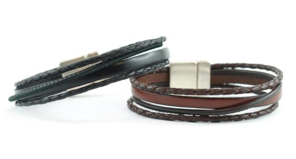 Flo rotbraun und Schwarz Herrenarmband mit Magnet